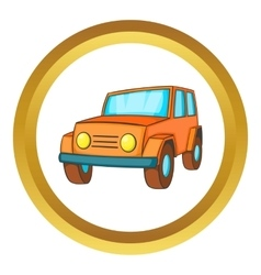 Orange jeep icon vector