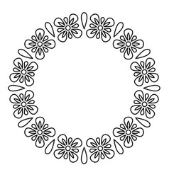 outline flowers circle frame design monochrome vector image