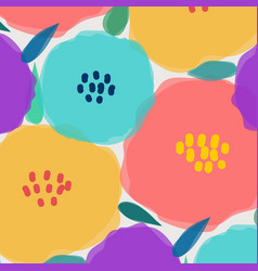 Pattern with big pastel flower vector