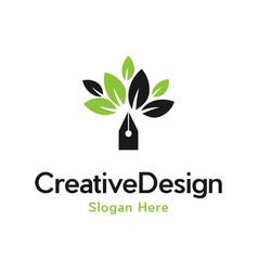 Pen tree leaf creative business logo design vector