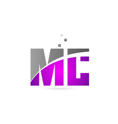 Pink grey alphabet letter combination mc m c for vector