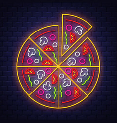 pizza - neon sign on brick wall background vector image