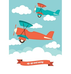 Planes in clouds vector