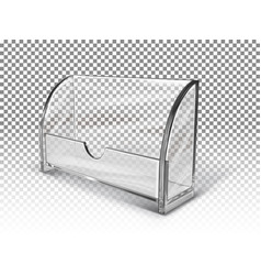 Plastic transparent business card holder stand fo vector