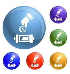 put economy money coin icons set vector image
