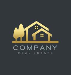 real estate houses gold logo design vector image