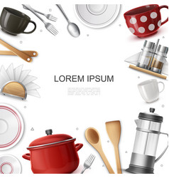 realistic dishware and utensils concept vector image