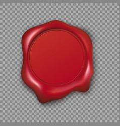 red wax seal isolated on transparent background vector image