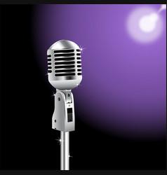 retro microphone on spotlight background 2 vector image vector image