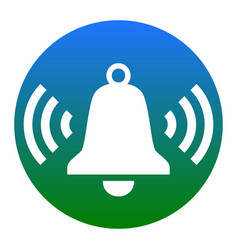 Ringing bell icon white icon in bluish vector