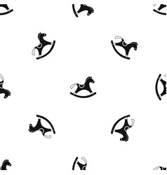 Rocking horse pattern seamless black vector
