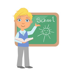 Schoolboy standing near the blackboard and writing vector