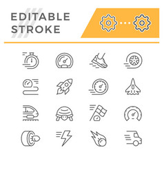 set editable stroke line icons speed vector image