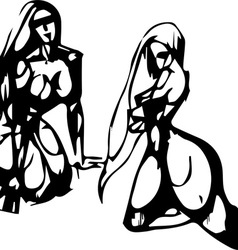Silhouettes of the Sitting Women vector