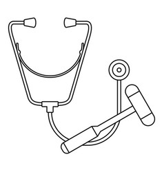stethoscope hammer icon outline style vector image