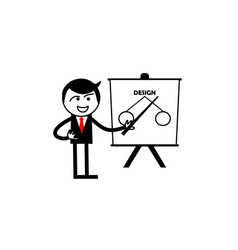 stick figure stickman presentation logo vector image
