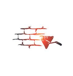stonemason builder mason brick wall concept vector image