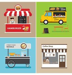 Street food shop flat design vector