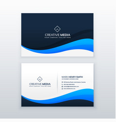 Stylish blue wave business card design vector