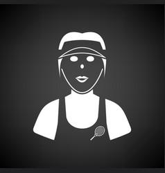 Tennis woman athlete head icon vector