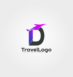 Travel agent logo design with initials d letter vector