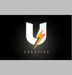 U letter logo design with lighting thunder bolt vector