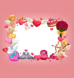 Valentines day hearts and romantic gifts frame vector