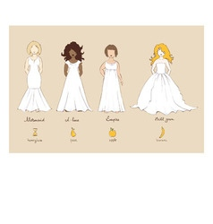 Wedding dress and female types of figures vector image