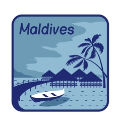 With wood bungalows in Maldives vector