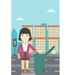 Woman throwing away trash vector