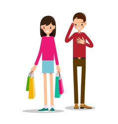 Young girl stands and holds shopping bags in both vector