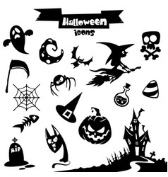 collection of halloween elements vector image