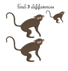 Find differences kids layout for game vervet ape vector image vector image