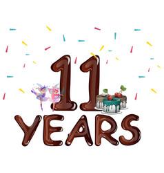 happy 11th birthday vector image vector image