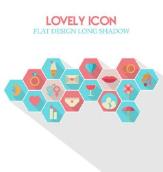 Lovely Icon Flat Design Long Shadow vector image vector image