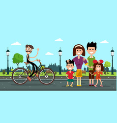 man in bicycle with family on road in city park vector image vector image