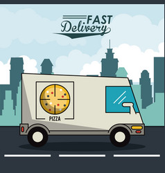 poster city landscape with fast delivery in pizza vector image vector image
