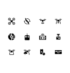 Quadcopter and flying drone icons on white vector image