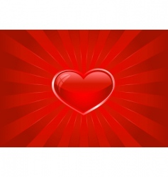 red light burst with heart vector image