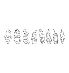 ice cream collection doodle vector image vector image