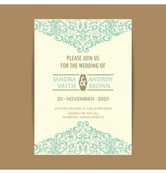Invitation card with vintage blue elem vector