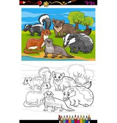 mustelids animals cartoon coloring book vector image