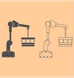robotic hand manipulator dark grey set icon vector image vector image