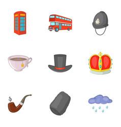 United kingdom travel icons set cartoon style vector