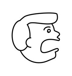 face guy angry outline vector image