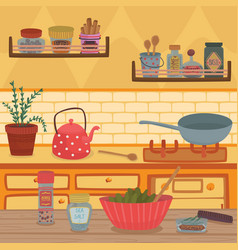 home kitchen with kitchenware utensils shelves vector image