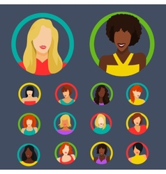 Set of female portraits vector image