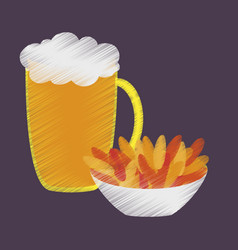 flat shading style icon beer and nuts vector image