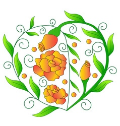 Heart from greens orange roses vector image vector image