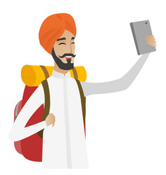 hindu traveler man with backpack making selfie vector image vector image